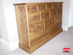 Solid Plank Pine Merchants Chest of Drawers