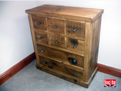 Handmade Plank Rustic Pine 8 Drawer Chest Of Drawers