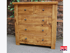 British handmade Rustic plank Pine Chest Of drawers
