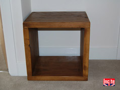 Plank Rustic Chunky Pine Cube Side Table