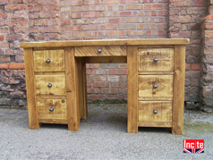 Handmade Wooden Double Pedestal Dressing Table
