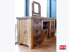 Rustic Plank Pine Dressing Table with Mirror