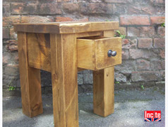 Handmade Rustic Chunky Plank Pine 1 Drawer Bedside Cabinet