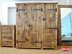 Handmade Plank Wooden Triple Wardrobe with Drawers