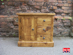 Rustic Plank Pine Combination Bedside Cabinet