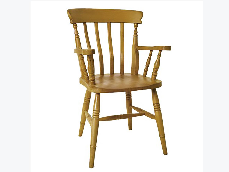 Beech High Back Slat Carver Chair