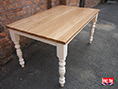 Painted Turned Leg Table Solid Oak Top