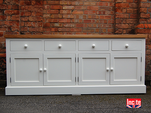 Painted With Oak 4 Door Sideboard