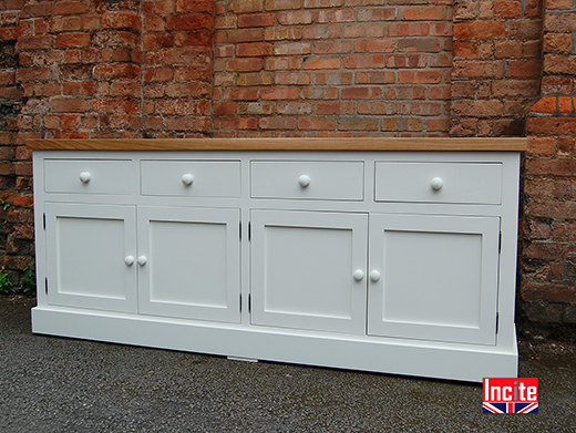 Oak And Painted 4 Door Sideboard