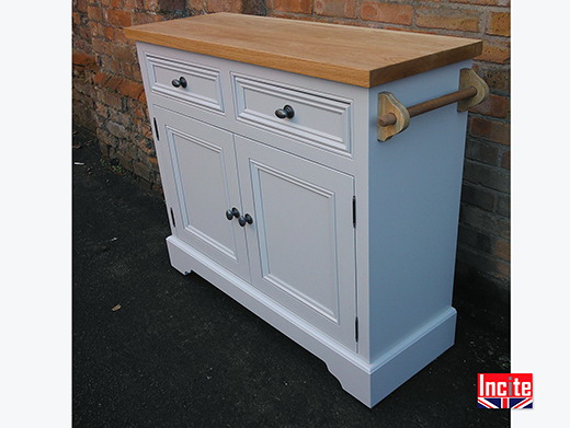 Painted and Oak Kitchen Cabinet