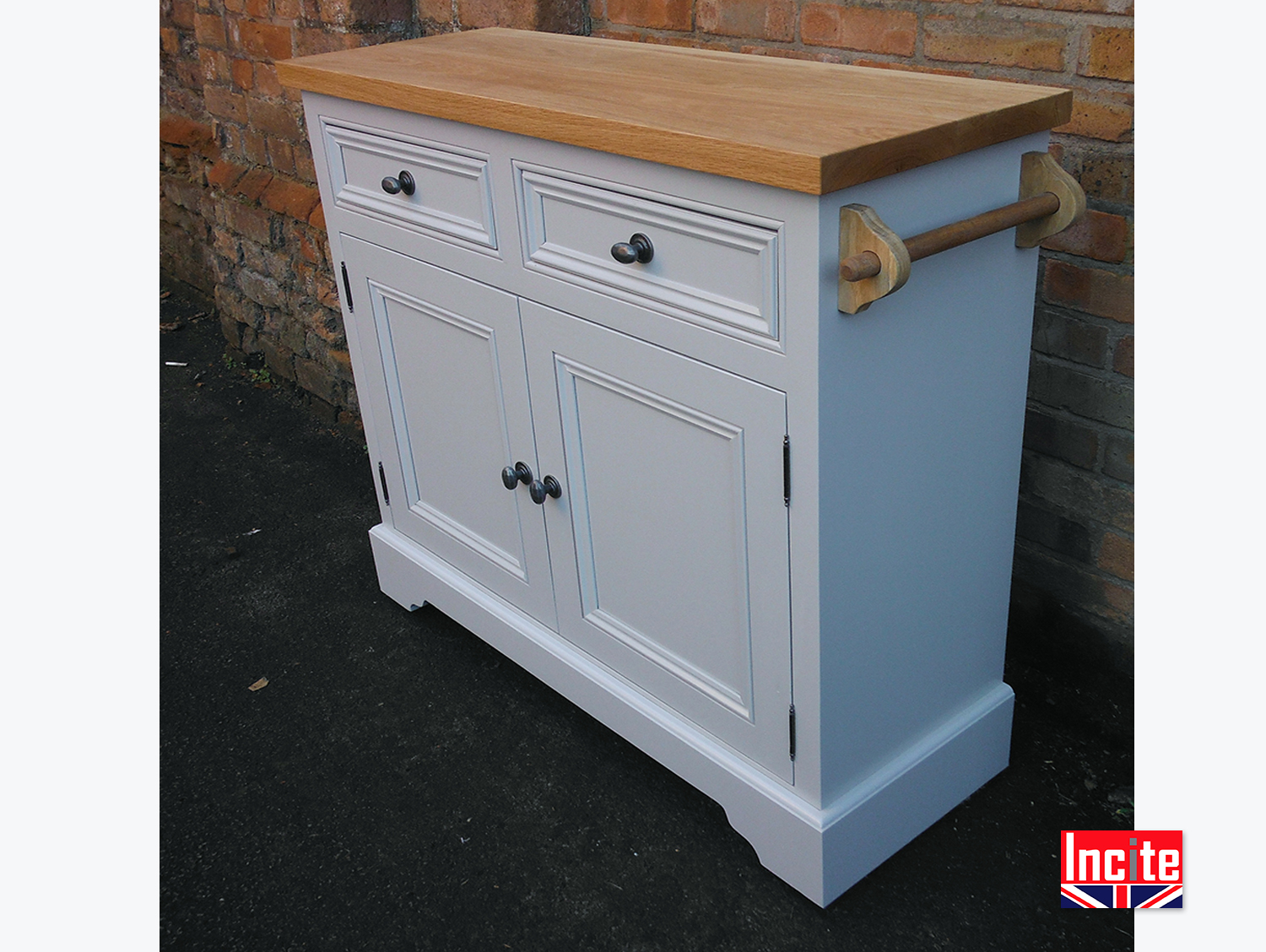 Painted Oak Top Cabinet with Towel Rail by Incite, Derby