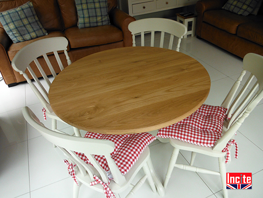Painted Pine and Solid Oak Dining Table