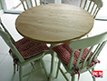 Solid Oak and Painted Pedestal Dining Table