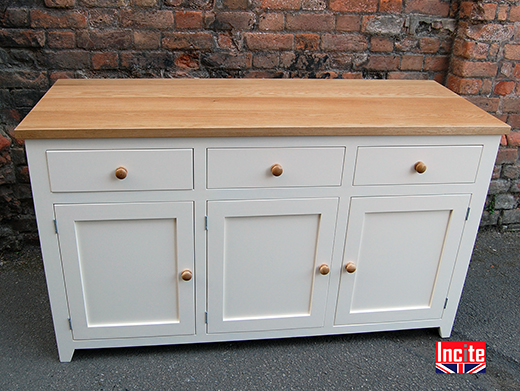 Painted Shaker Style Sideboard with Oak Top