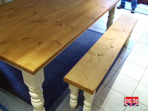 Solid Pine Table with Painted Turned Leg