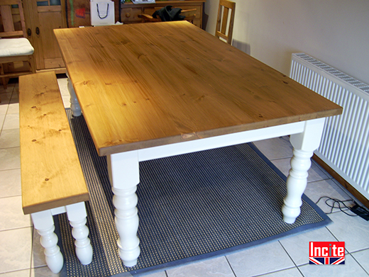 Solid Pine Table with Painted Turned legs