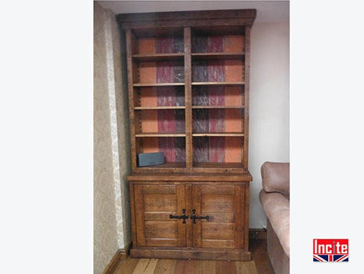 Chunky Plank Pine Bookcase Cupboard