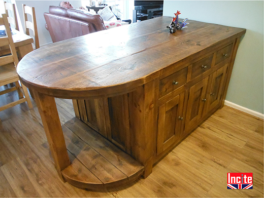Custom Made Plank Pine  Kitchen Island