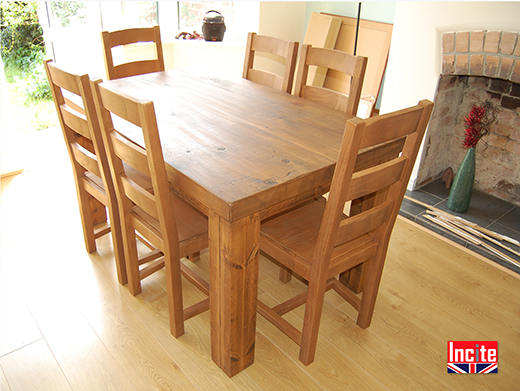 Rustic Plank Pine Table British Handmade