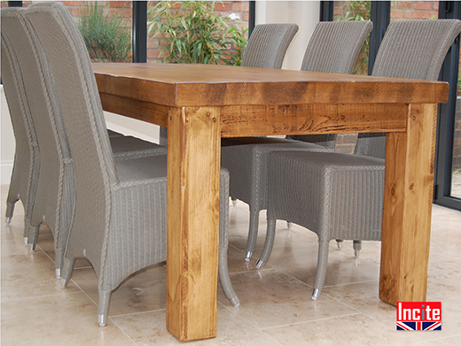 Thick Solid Rustic Pine Dining Table