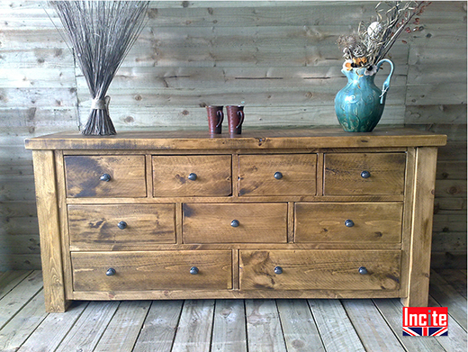 Chunky Plank Wooden Long Boy Chest of Drawers