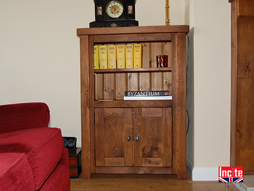 Chunky Pine Short Bookcase Cabinet