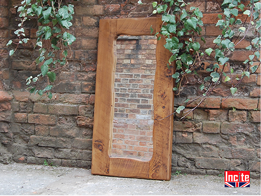 Handmade Rustic Plank Mirror With Wavy Edge