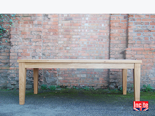 Handmade Solid Oak Tapered Leg Dining Table