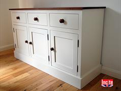 British Handmade Custom Built Painted Farrow And Ball Lancaster Yellow With Oak Glazed dresser Handmade By Incite Interiors Derbyshire, Oak Walnut, Beech And Pine And Painted Bedroom, Dining, Lounge, Kitchen, Bathroom, Hall And office furniture
