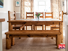 A beautiful Bespoke Handmade Rustic Plank Pine Bench with Back Support Handmade By Incite Interiors, Derbyshire Seating with style for your Dinning Room