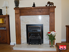 British Handmade Rustic Chunky Plank Pine Gothic Fire Surround Bespoke Made To measure Custom Made, Solid Wooden Furniture By Incite Interiors Derbyshire, Oak, Walnut, Beech, Pine And Painted wooden Bedroom, Lounge, And Dining, Office, Hall And Kitchen Furniture