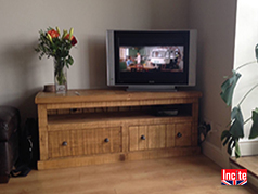 Chunky Plank Units For All Your Media Equipment Custom Made Rustic Chunky Plank Pine TV And Media Storage Units Made to Order to your requirements Derbyshire