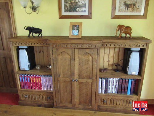 Hand Carved Pine Bookcase with Cupboard