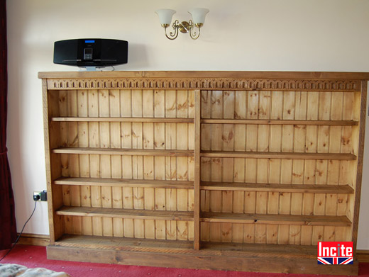 Hand Carved Gothic Plank Double Bookcase
