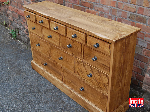 Solid Pine 14 Drawer Merchants Chest