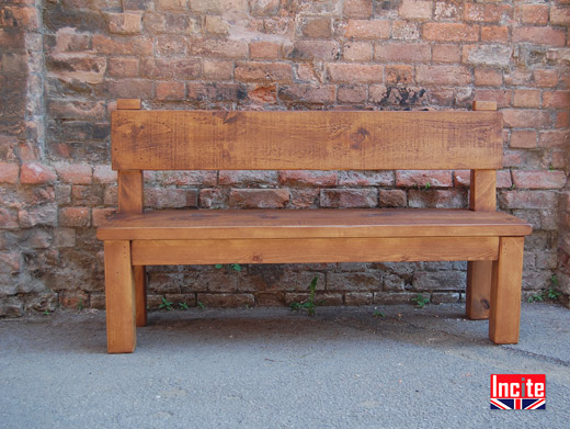 Plank Pine Bench with Back Support