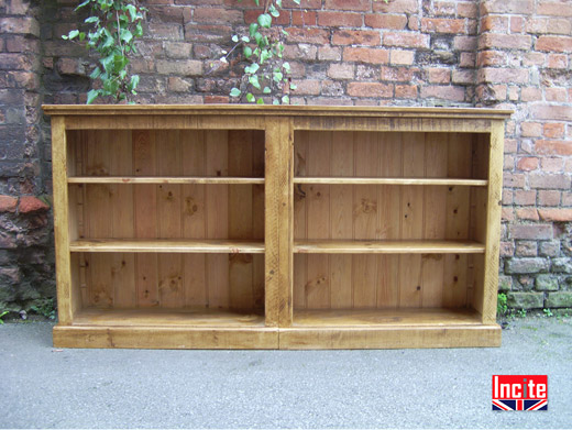 Rustic Chunky Pine Double Bookcase