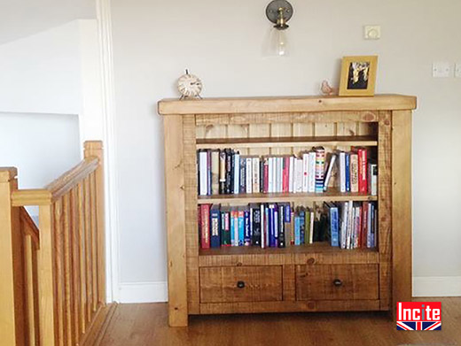 Plank Pine Bookcase with Drawers