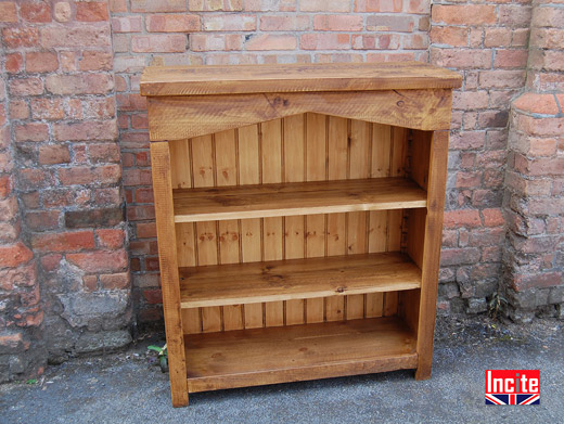 Plank Pine Bookcase with Arched Top