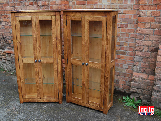 Rustic Pine Glazed Display Cabinet