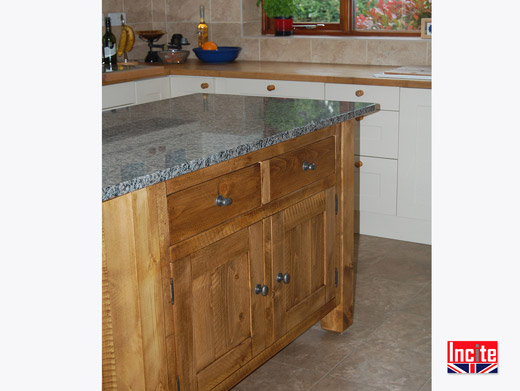 Solid Wooden Kitchen Island with Granite Top