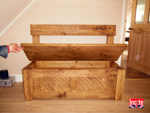 Plank Pine Monks Bench Open top