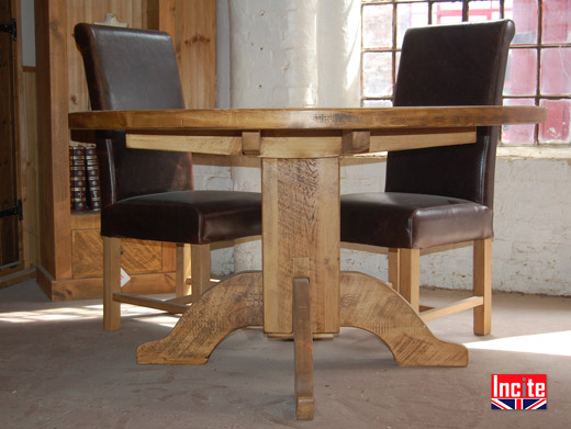 Solid Rustic Pine Round Pedestal Table