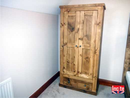 Rustic Pine Wardrobe with Drawers