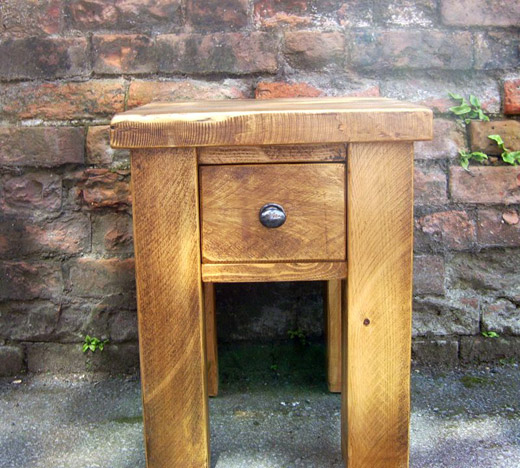 Solid Wooden Pine Bedside Table