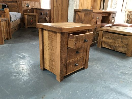 British Made Plank Pine 3 Drawer Bedside Cabinet