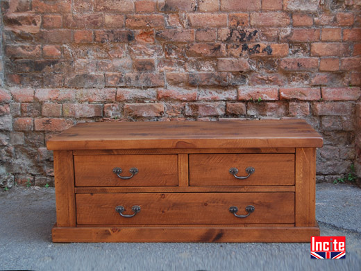Rustic Plank Pine 3 Drawer Chest Coffee Table
