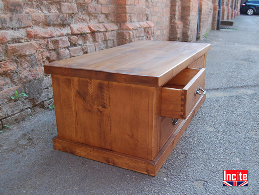 Plank Solid  Pine 3 Drawer Coffee Table