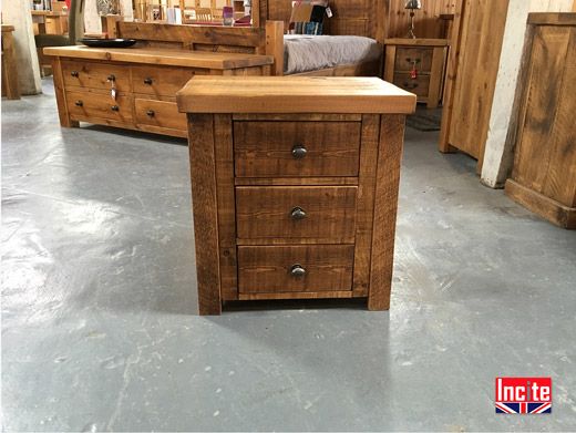 Chunky Plank Pine 3 Drawer Bedside Table