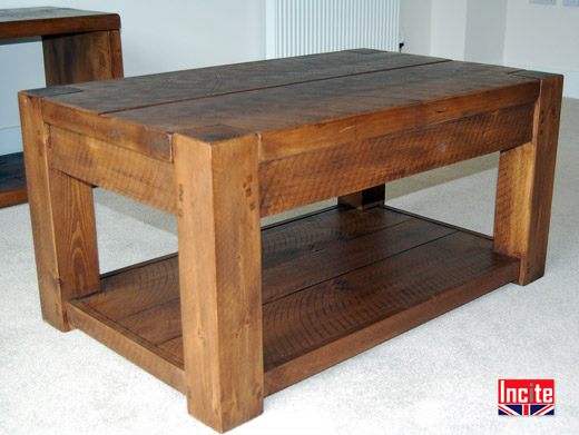 Handmade Beam Coffee Table with Shelf